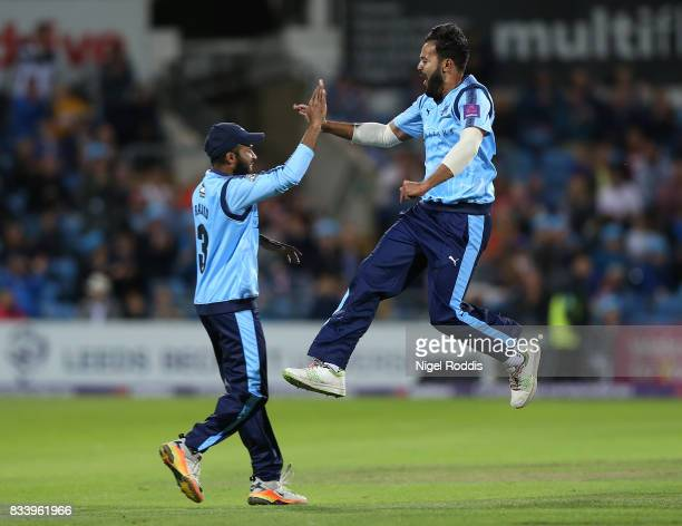 Azeem Rafiq of Yorkshire Vikings celebrates taking the wicket of Steven Crook of Northamptonshire Steelbacks during the NatWest T20 Blast at...