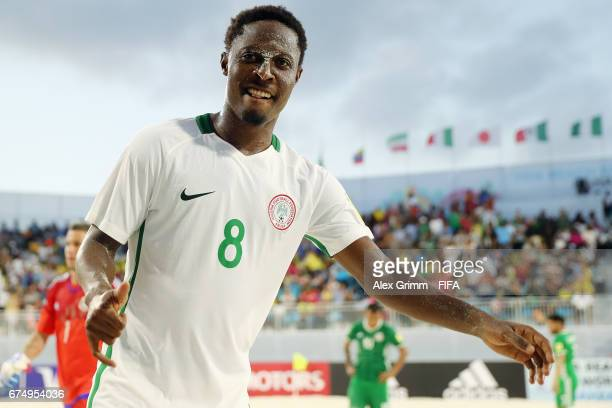 Azeez Abu of Nigeria celebrates after the FIFA Beach Soccer World Cup Bahamas 2017 group B match between Mexico and Nigeria at National Beach Soccer...