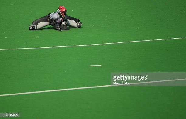 Azelia Liu of Canada stretches during the Women's Semifinal match between Australia and England at Major Dhyan Chand National Stadium at Major Dhyan...