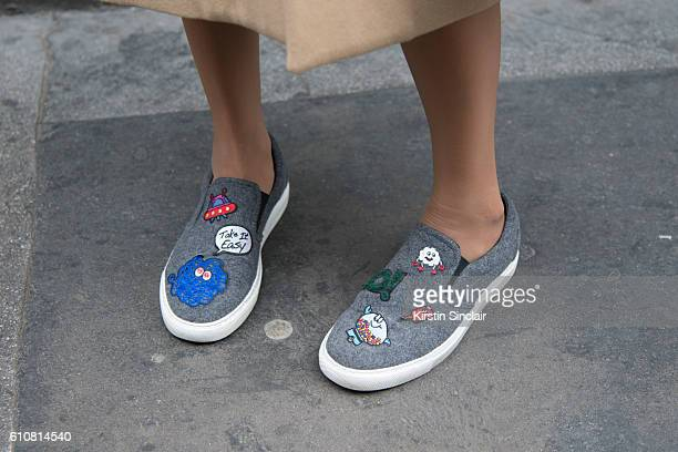 Azerbaijan fashion editor Leyla Ahmadova wears Miro Micante shoes on day 5 of London Womens Fashion Week Spring/Summer 2016 on September 20 2016 in...