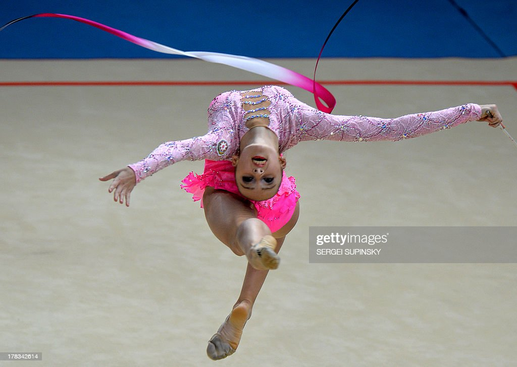 Azerbaijani Marina Durunda competes during her ribbon program of the individual all-around final of 32nd Rhythmic Gymnastics World Championship in Kiev on August 29, 2013.