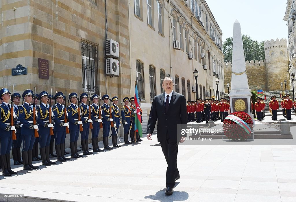 Azerbaijani President Ilham Aliyev attends a ceremony marking the 98th anniversary of the establishment of the Azerbaijan Democratic Republic (ADR) in Baku, Azerbaijan on May 27, 2016.