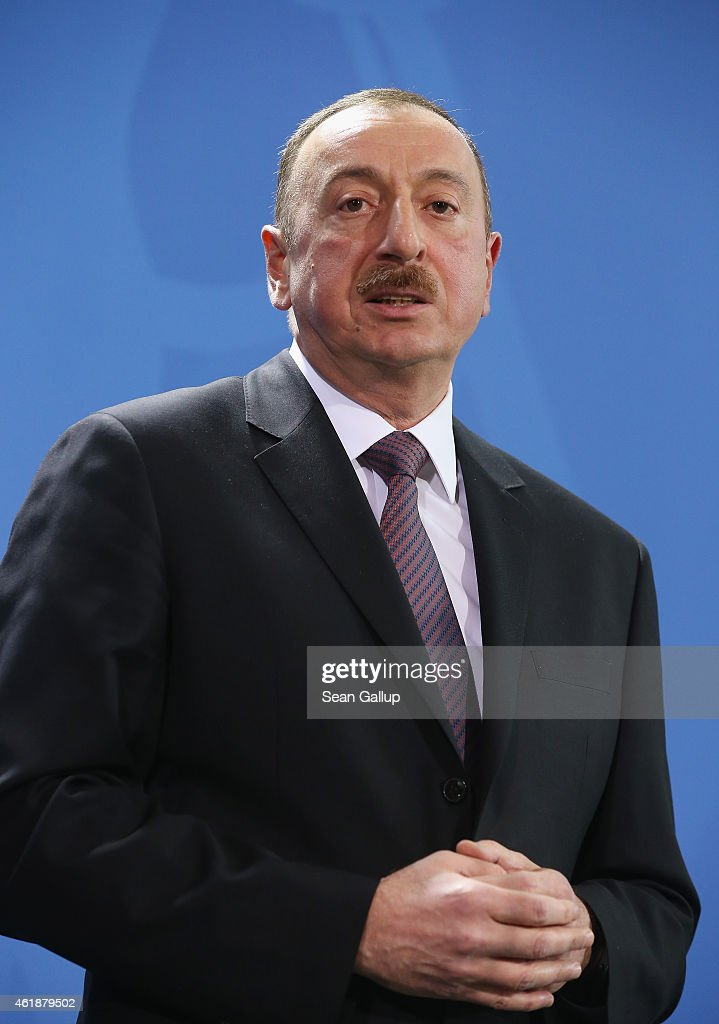 Azerbaijani President <a gi-track='captionPersonalityLinkClicked' href=/galleries/search?phrase=Ilham+Aliyev&family=editorial&specificpeople=565601 ng-click='$event.stopPropagation()'>Ilham Aliyev</a> sepaks to the media with German Chancellor Angela Merkel (not pictured) following talks at the Chancellery on January 21, 2015 in Berlin, Germany. The two leaders dsicussed the simmering conflict between Azerbaijan and Armenia, among other topics.