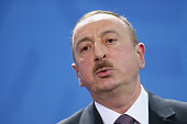 Azerbaijani President Ilham Aliyev speaks to the media with German Chancellor Angela Merkel following talks at the Chancellery on January 21 2015 in...