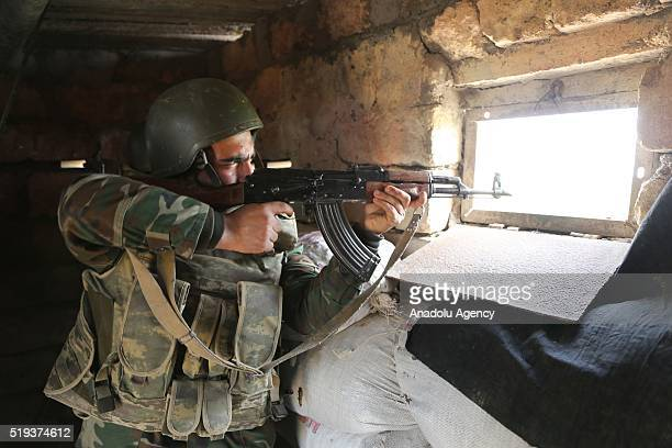 Azerbaijani soldiers are seen at their position in the Tartar region of Azerbaijan on April 6 2016 Although Azerbaijan and Armenia agreed to cease...