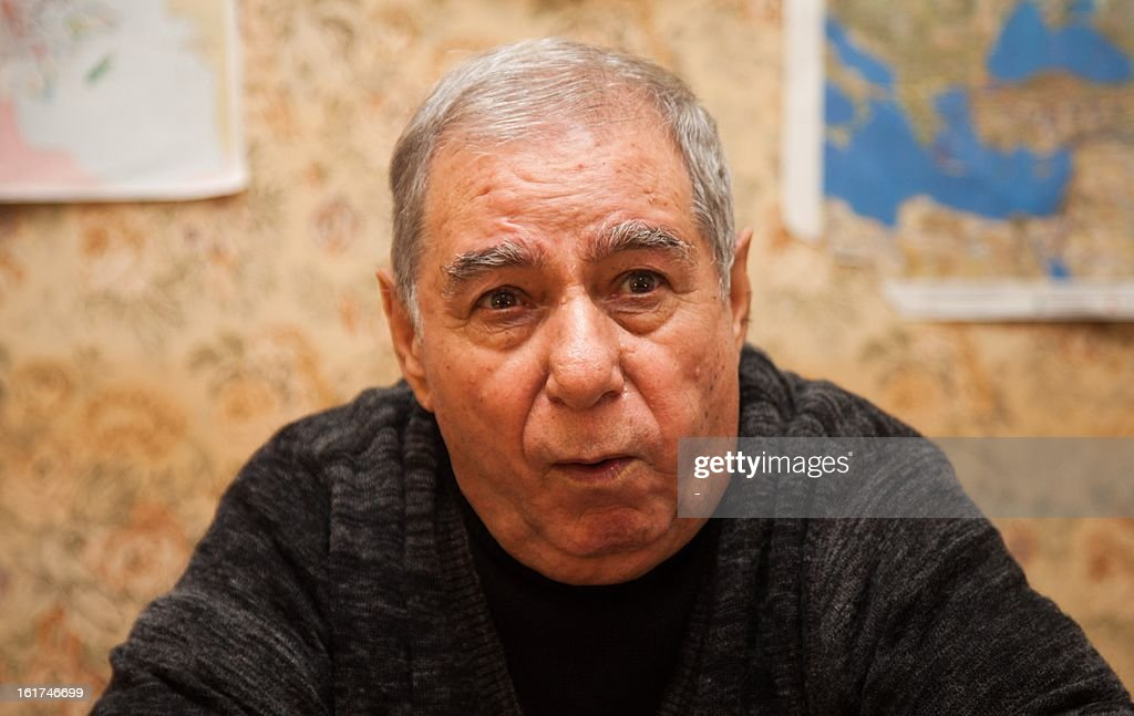 Azerbaijani writer Akram Aylisli speaks during his interview with the AFP in Baku, on February 13, 2013