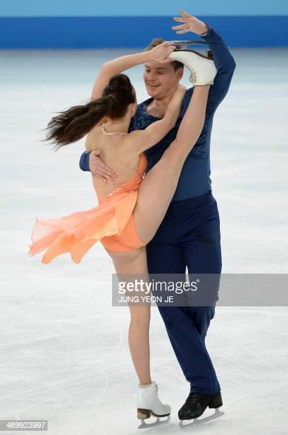 Azerbaijan's Alexei Sitnikov and Azerbaijan's Julia Zlobina compete in the Figure Skating Ice Dance Free Dance at the Iceberg Skating Palace during...