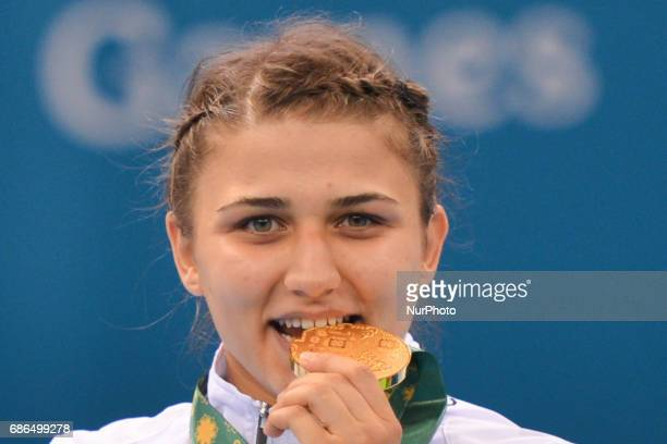 Azerbaijan's Elis Manolova with the Gold after winning in the Women's Wrestling Freestyle 69Kg win at the Baku 2017 4th Islamic Solidarity Games at...