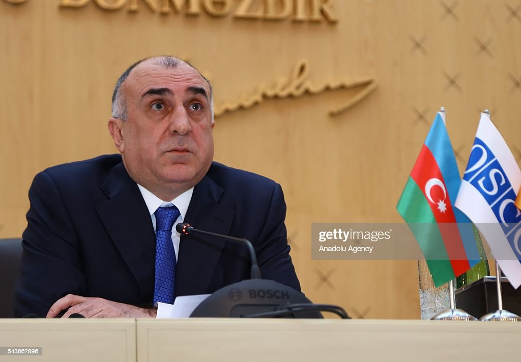 Azerbaijan's Foreign Minister Elmar Memmedyarov and German Foreign Minister Frank-Walter Steinmeier (not seen) hold a joint press conference after their meeting in Baku, Azerbaijan on June 30, 2016.