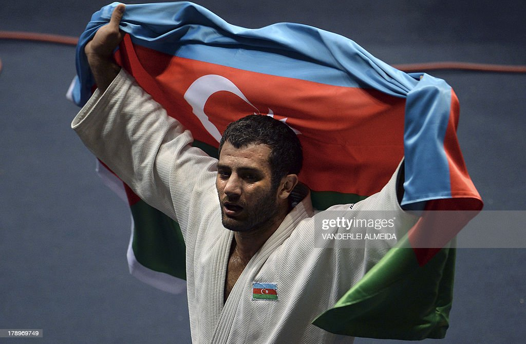 Azerbaijan's judoka Elkhan Mammadov celebrates after defeating Netherlands' Henk Grol during the Men's -100kg category final of the IJF World Judo Championship in Rio de Janeiro, Brazil, on August 31, 2013.