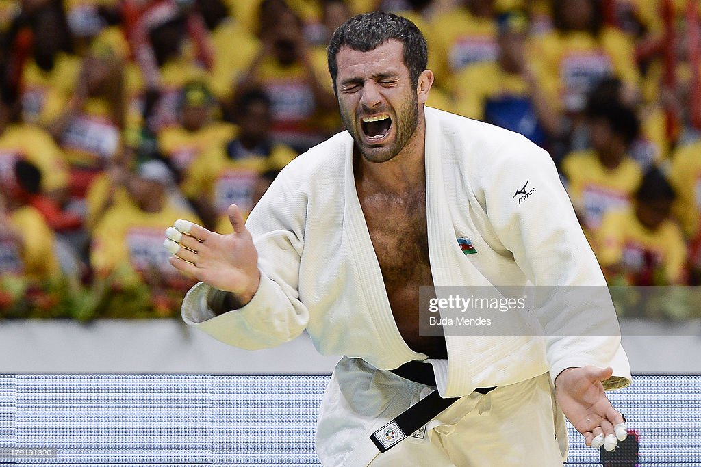 Azerbaijan's judoka Elkhan Mammadov celebrates after defeating Netherlands' Henk Grol during the Men's -100kg category final of the IJF World Judo Championship at Gymnasium Maracanazinho on August 31, 2013 in Rio de Janeiro, Brazil.