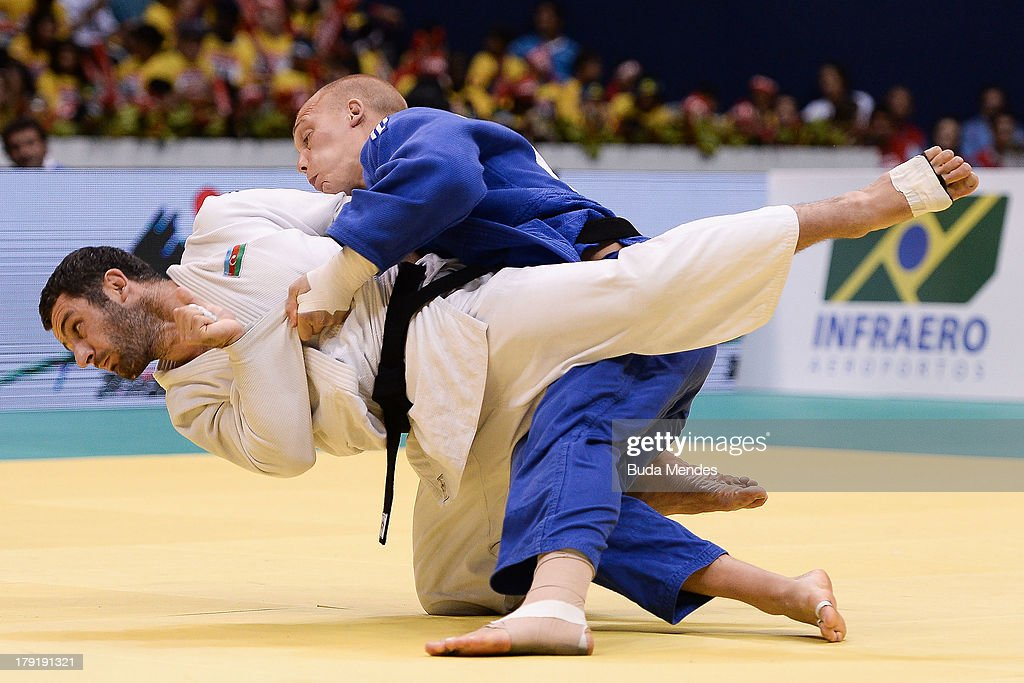 Azerbaijan's judoka Elkhan Mammadov (white) competes with Netherlands' Henk Grol during the Men's -100kg category final of the IJF World Judo Championship at Gymnasium Maracanazinho on August 31, 2013 in Rio de Janeiro, Brazil.