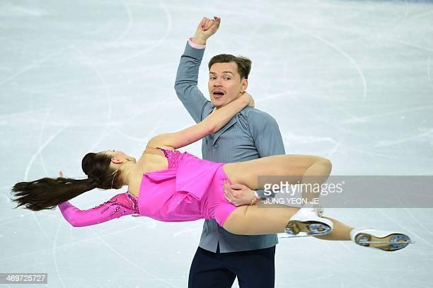 Azerbaijan's Julia Zlobina and Azerbaijan's Alexei Sitnikov perform in the Figure Skating Ice Dance Short Dance at the Iceberg Skating Palace during...