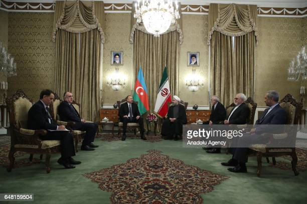 Azerbaijan's President Ilham Aliyev and Iranian President Hassan Rouhani hold a meeting in Tehran Iran on March 05 2017