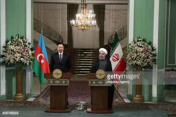 Azerbaijan's President Ilham Aliyev and Iranian President Hassan Rouhani hold a joint press conference following their meeting in Tehran Iran on...