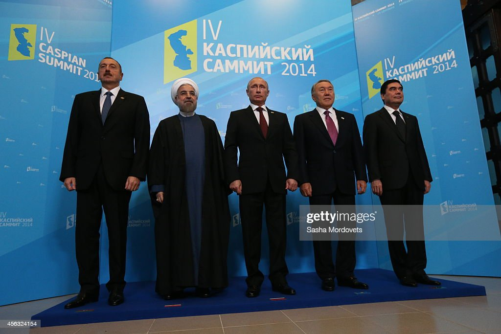 Azerbaijan's President <a gi-track='captionPersonalityLinkClicked' href=/galleries/search?phrase=Ilham+Aliyev&family=editorial&specificpeople=565601 ng-click='$event.stopPropagation()'>Ilham Aliyev</a>, Iran's President Hassan Rouhani, Russian President <a gi-track='captionPersonalityLinkClicked' href=/galleries/search?phrase=Vladimir+Putin&family=editorial&specificpeople=154896 ng-click='$event.stopPropagation()'>Vladimir Putin</a>, Kazakh President <a gi-track='captionPersonalityLinkClicked' href=/galleries/search?phrase=Nursultan+Nazarbayev&family=editorial&specificpeople=4556028 ng-click='$event.stopPropagation()'>Nursultan Nazarbayev</a>, Turkmenistan's President Gurbanguly Berdimuhamedow pose for a photo during the Caspian Sea Summit on September 29, 2014 in Astrakhan, Russia. Leaders of Russia, Iran, Kazakhstan, Turkmenistan and Azerbaijan have gathered in Astrakhan for 4th summit of the Caspian Sea littoral states.