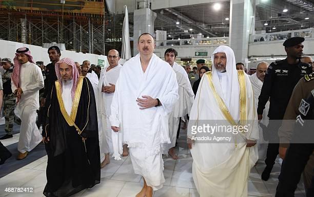 Azerbaijans President Ilham Aliyev performs the Umrah pilgrimage on April 7 2015 in Mecca Saudi Arabia Azerbaijani president is accompanied by his...