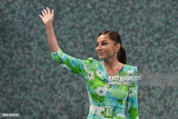 Azerbaijan's Vice President and First Lady Mehriban Aliyeva attends the Women's Wrestling event at the Baku 2017 4th Islamic Solidarity Games at the...