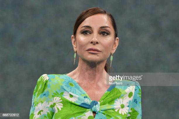 Azerbaijan's Vice President and First Lady Mehriban Aliyeva during the Women's Wrestling medal ceremony at the Baku 2017 4th Islamic Solidarity Games...