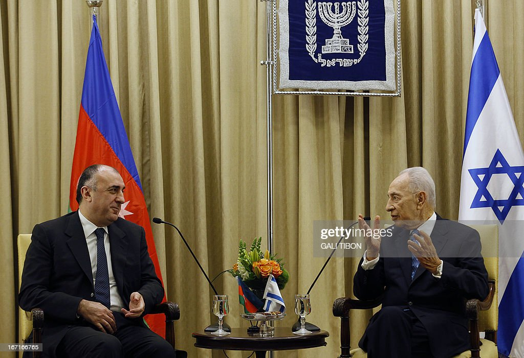 Azeri Foreign Minister Elmar Mammadyarov (L) meets with Israeli President Shimon Peres to discuss strenthening strategic relations on April 22, 2013 at the presidential compound in Jerusalem.