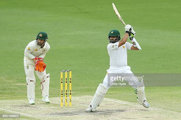 Azhar Ali of Pakistan bats during day four of the First Test match between Australia and Pakistan at The Gabba on December 18 2016 in Brisbane...