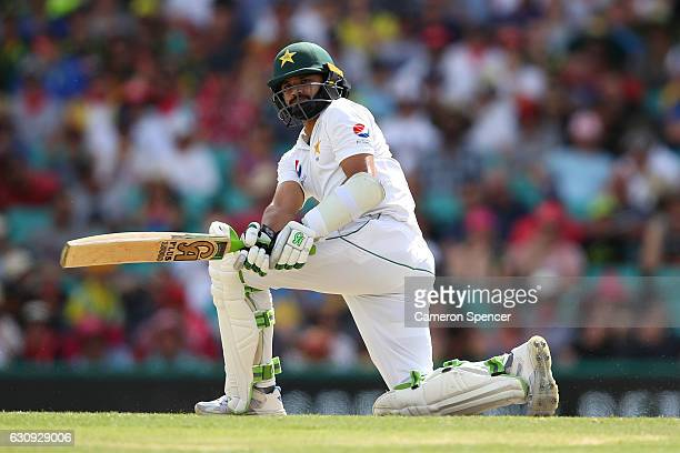 Azhar Ali of Pakistan bats during day two of the Third Test match between Australia and Pakistan at Sydney Cricket Ground on January 4 2017 in Sydney...