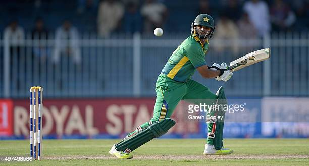 Azhar Ali of Pakistan bats during the 3rd One Day International match between Pakistan and England at Sharjah Cricket Stadium on November 17 2015 in...