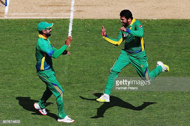 Azhar Ali of Pakistan celebrates after dismissing Kane Williamson of the Black Caps during the One Day International match between New Zealand and...