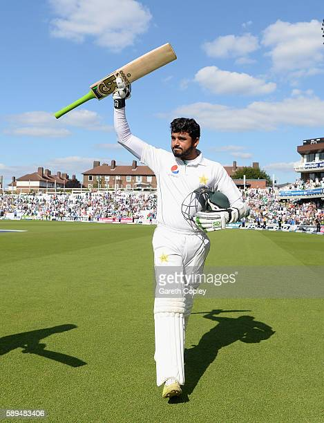 Azhar Ali of Pakistan celebrates as he leaves the field after winning the 4th Investec Test between England and Pakistan at The Kia Oval on August 14...