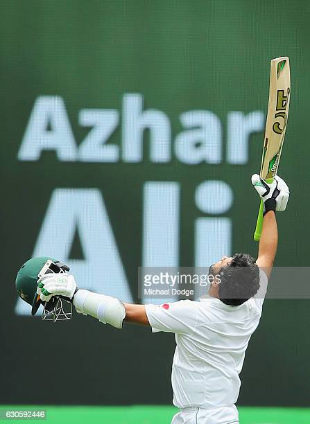 Azhar Ali of Pakistan celebrates making a century during day three of the Second Test match between Australia and Pakistan at Melbourne Cricket...