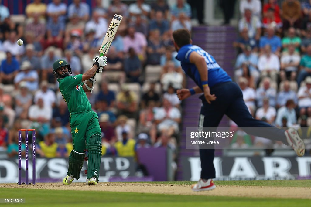Azhar Ali of Pakistan hits a four to the long off boundary off the bowling of Liam Plunkett during the first Royal London One- Day match between England and Pakistan at the Ageas Bowl on August 24, 2016 in Southampton, England.