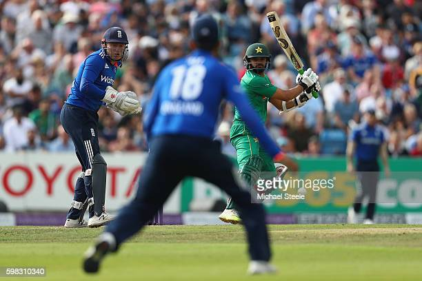 Azhar Ali of Pakistan hits to the offside off the bowling of Adil Rashid as wicketkeeper Jonny Bairstow looks on during the 4th Royal London One Day...