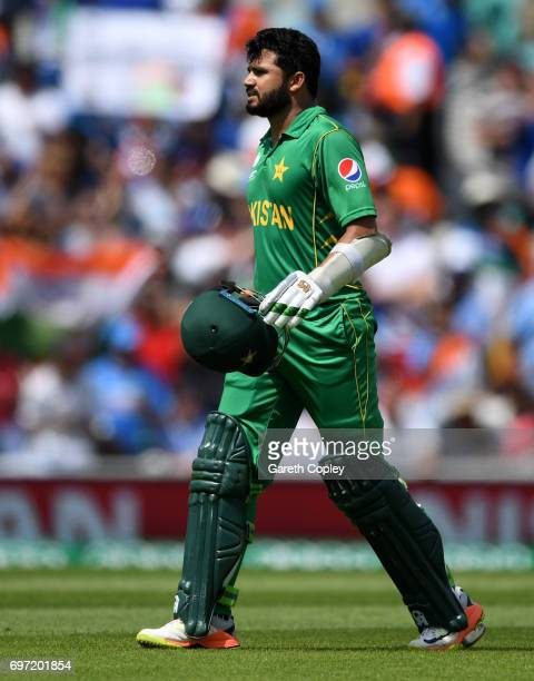 Azhar Ali of Pakistan leaves the field after being run out during the ICC Champions Trophy Final between India and Pakistan at The Kia Oval on June...