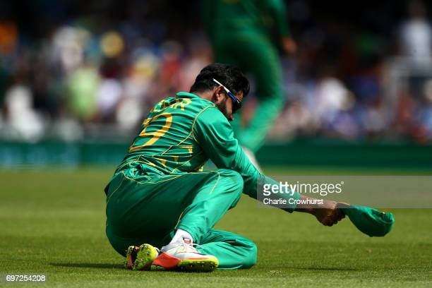 Azhar Ali of Pakistan looks dejected after dropping a catch in the slips off of India's Virat Kohli during the ICC Champions Trophy Final match...