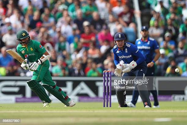 Azhar Ali of Pakistan plays to the legside off the bowling of Moeen Ali as wicketkeeper Jonny Bairstow looks on during the 4th Royal London One Day...