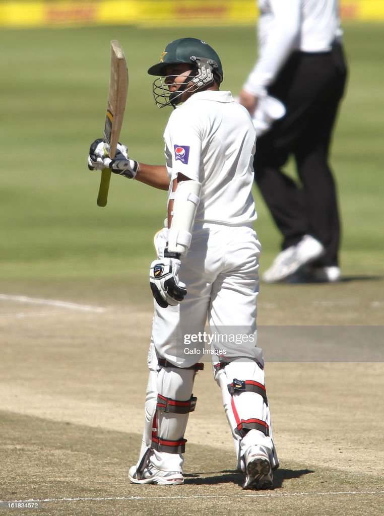 Azhar Ali of Pakistan raises his bat after reaching his fifty during day 4 of the 2nd Sunfoil Test match between South Africa and Pakistan at Sahara Park Newlands on February 17, 2013 in Cape Town, South Africa.