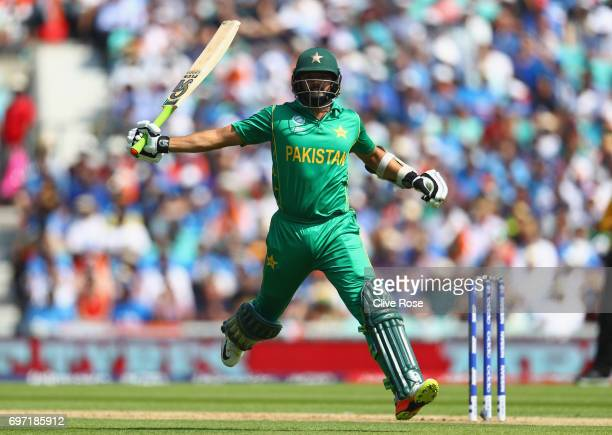 Azhar Ali of Pakistan runs to make his ground during the ICC Champions trophy cricket match between India and Pakistan at The Oval in London on June...