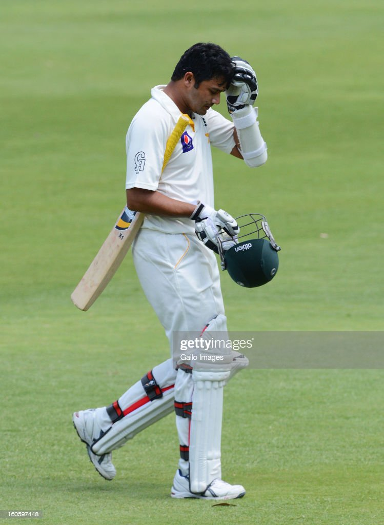 Azhar Ali of Pakistan walks off the field after being dismissed during day 3 of the 1st Test match between South Africa and Pakistan at Bidvest Wanderers Stadium on February 03, 2013 in Johannesburg, South Africa.