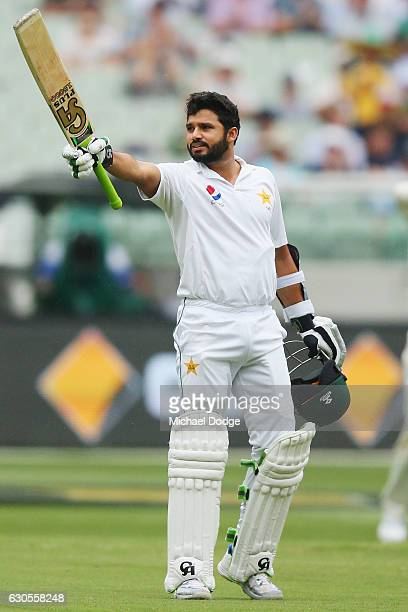 Azhar Ali of Pakistancelebrates making a century during day two of the Second Test match between Australia and Pakistan at Melbourne Cricket Ground...