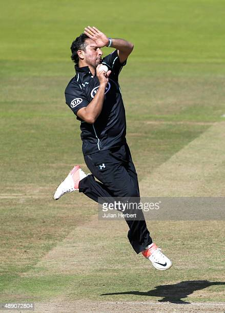 Azhar Mahmood of Surrey bowls during the Royal London OneDay Cup Final between Surrey and Gloustershire at Lord's Cricket Ground on September 19 2015...
