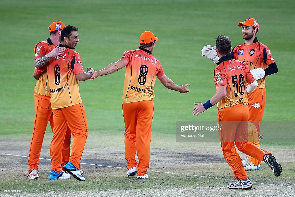 <a gi-track='captionPersonalityLinkClicked' href=/galleries/search?phrase=Azhar+Mahmood&family=editorial&specificpeople=227377 ng-click='$event.stopPropagation()'>Azhar Mahmood</a> of Virgo celebrates the wicket of Brendan Taylor of Leo Lions with his team-mates during the Oxigen Masters Champions League Semi Final match between Leo Lions and Virgo Super Kings at Dubai International Cricket Stadium on February 12, 2016 in Dubai, United Arab Emirates.