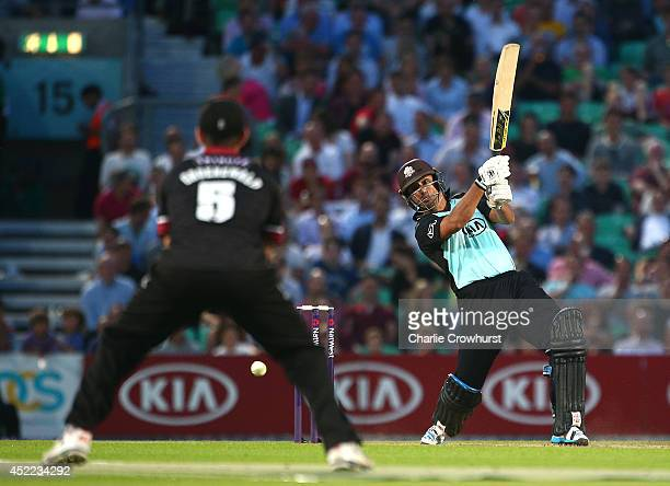 Azhar Sagar of Surrey hits out during the Natwest T20 Blast match between Surrey and Somerset at The Kia Oval on July 16 2014 in London England
