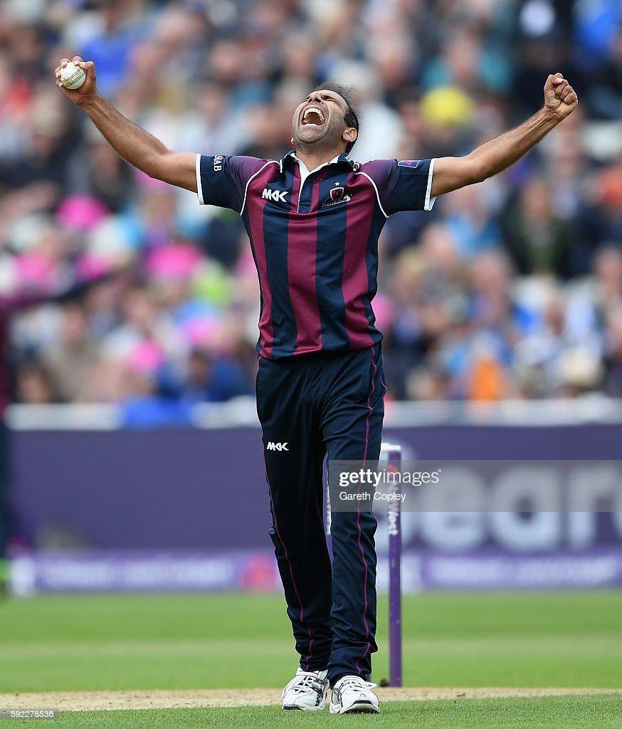 Azharullah of Northamptonshire celebrates dismissing Jake Ball of Nottinghamshire during the NatWest t20 Blast Semi Final between Northamptonshire...