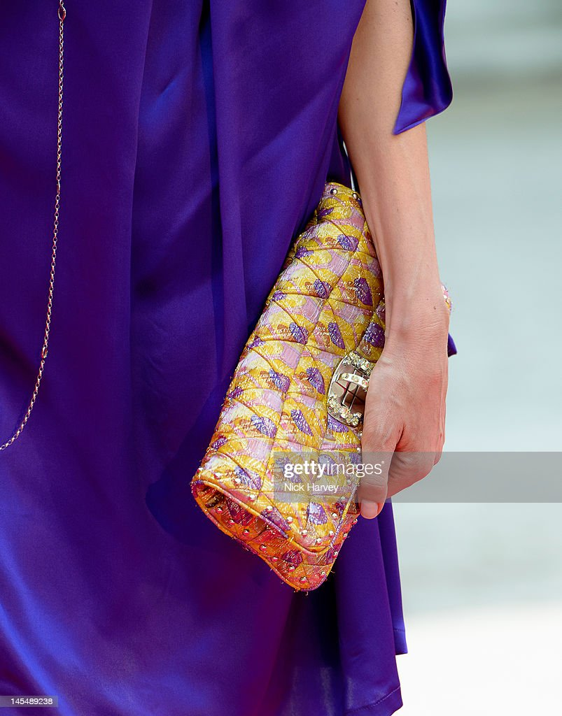 Azia Chatila (handbag detail) attends the private VIP view of Royal Academy Summer Exhibition 2012 at Royal Academy of Arts on May 30, 2012 in London, England.
