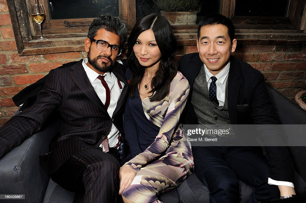 Azim Majid, Gemma Chan and Wayne Yip attend the InStyle Best Of British Talent party in association with Lancome and Avenue 32 at Shoreditch House on January 30, 2013 in London, England.