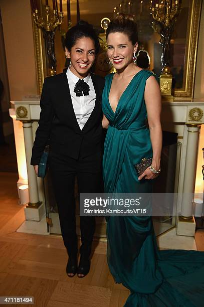Azita Ardakani and Sophie Bush attend the Bloomberg Vanity Fair cocktail reception following the 2015 WHCA Dinner at the residence of the French...