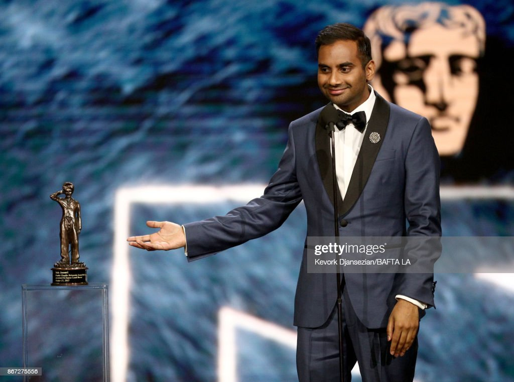 Aziz Ansari accepts Charlie Chaplin Britannia Award for Excellence In Comedy presented by Jaguar Land Rover at the 2017 AMD British Academy Britannia Awards Presented by American Airlines And Jaguar Land Rover at The Beverly Hilton Hotel on October 27, 2017 in Beverly Hills, California.