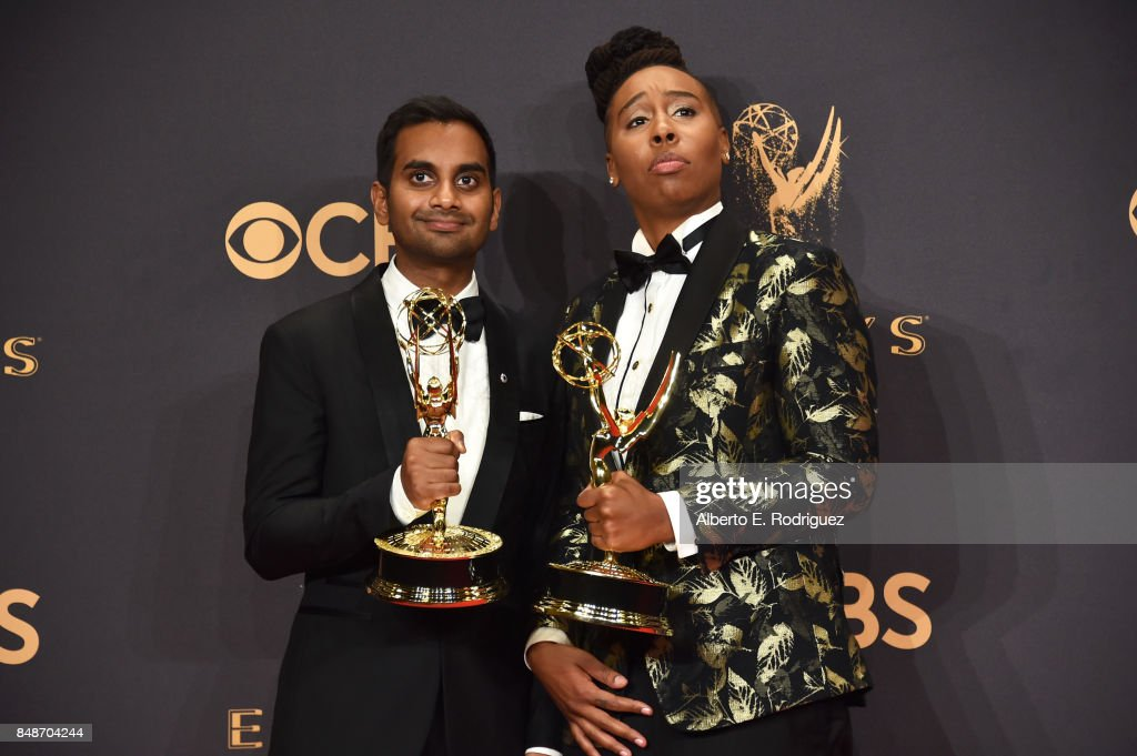 Aziz Ansari (L) and Lena Waithe pose with the award for Outstanding Writing for a Comedy Series for 'Master of None' during the 69th Annual Primetime Emmy Awards at Microsoft Theater on September 17, 2017 in Los Angeles, California.