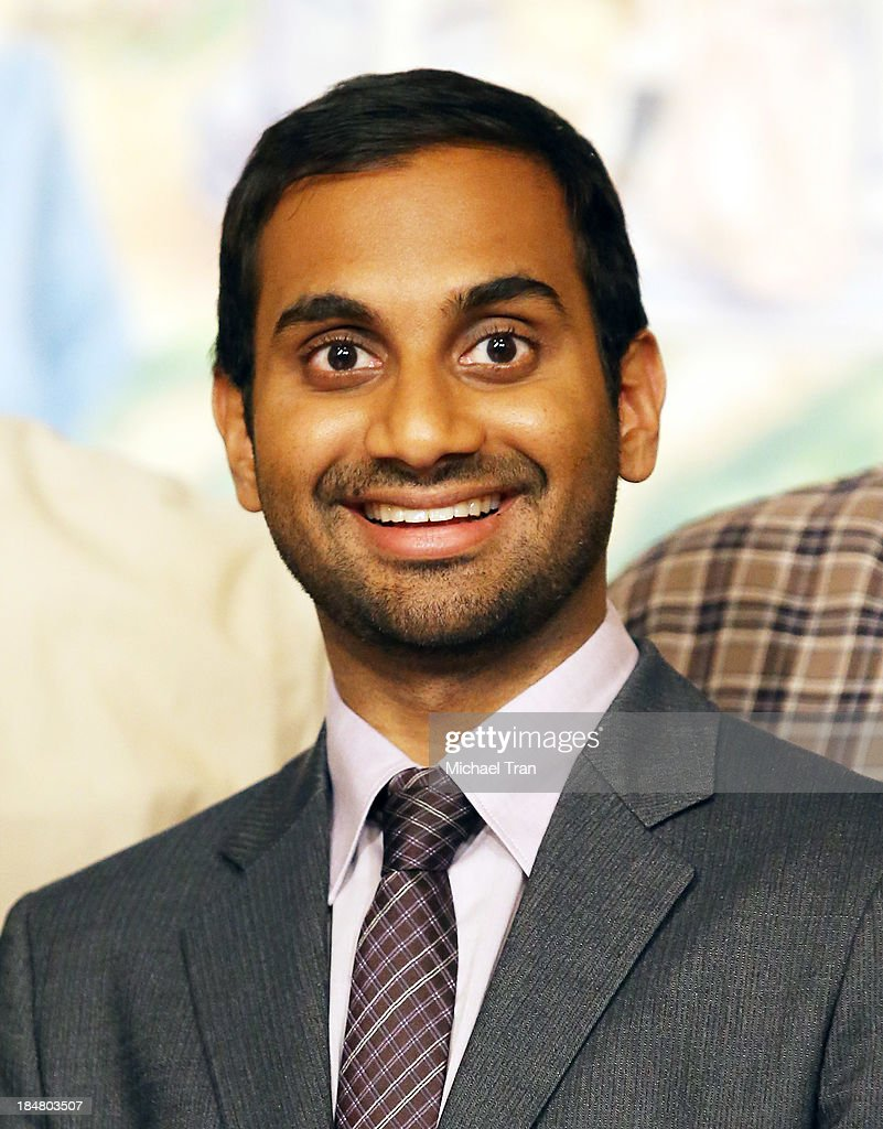 <a gi-track='captionPersonalityLinkClicked' href=/galleries/search?phrase=Aziz+Ansari&family=editorial&specificpeople=4266146 ng-click='$event.stopPropagation()'>Aziz Ansari</a> attends the 'Parks And Recreation' 100th episode celebration held at CBS Studios - Radford on October 16, 2013 in Studio City, California.