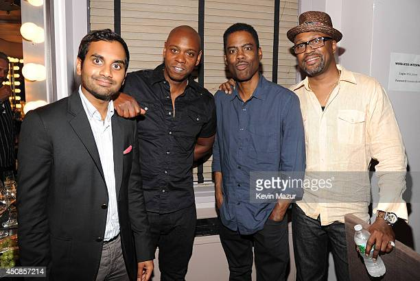 Aziz Ansari Dave Chappelle and Chris Rock backstage at Radio City Music Hall on June 18 2014 in New York City